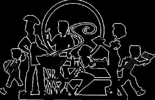 食事する家族の影絵